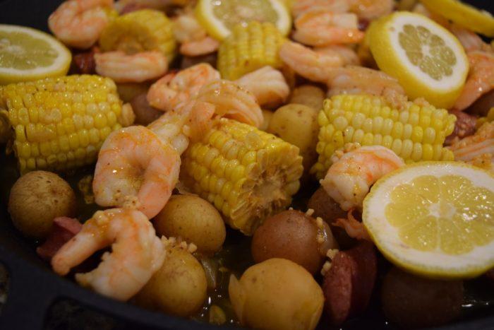 Instant pot shrimp boil garnished