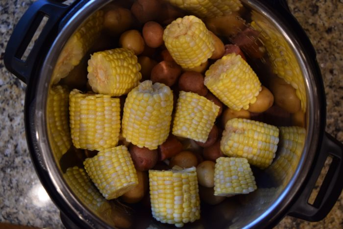 corn and potatoes in Instant Pot