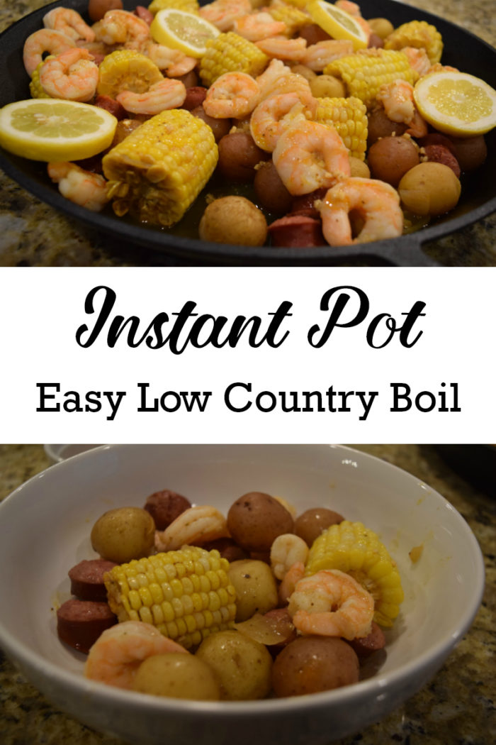 This easy instant pot shrimp boil, aka low country boil, takes just a few minutes in the pressure cooker. The Old Bay seasoning and butter gives it great flavor that is sure to become a family favorite. #instantpot #shrimpboil #lowcountryboil #cajun