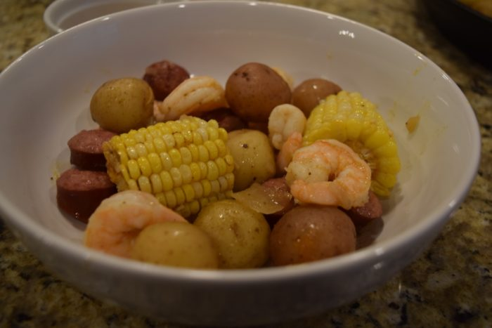 instant pot low country shrimp boil in bowl