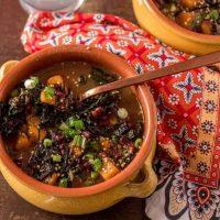 Instant Pot Adzuki Bean Soup with Miso, Winter Squash, and Kale