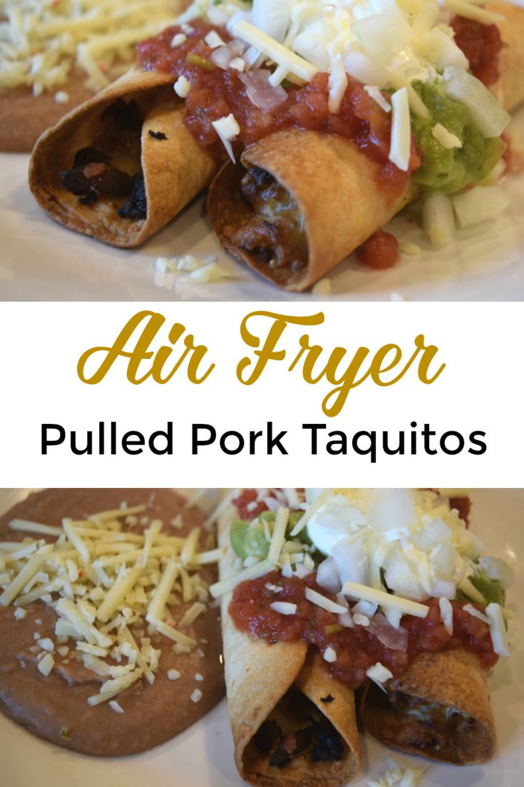 Air fryer pulled pork taquitos, aka flautas that can also be made with chicken, beef, other filling like bean for vegan or vegetarian options. Use flour or corn tortillas. An easy Mexican dinner dish! #instantvortex #airfryer #taquitos #flautas