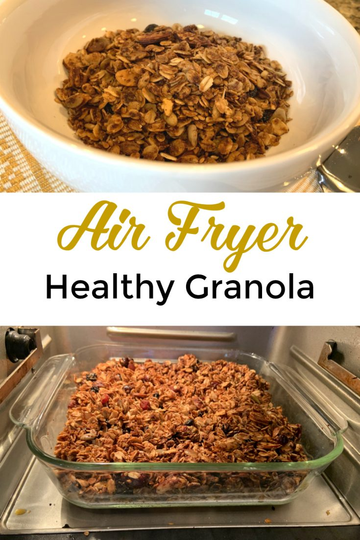 Easy and healthy Air fryer granola recipe that can be made in the Instant Vortex, Instant Omni, any air fryer or the regular oven. It is Paleo friendly, Vegetarian,and can be made Vegan. It is a tasty breakfast cereal! #granola #airfryer #cereal #breakfast