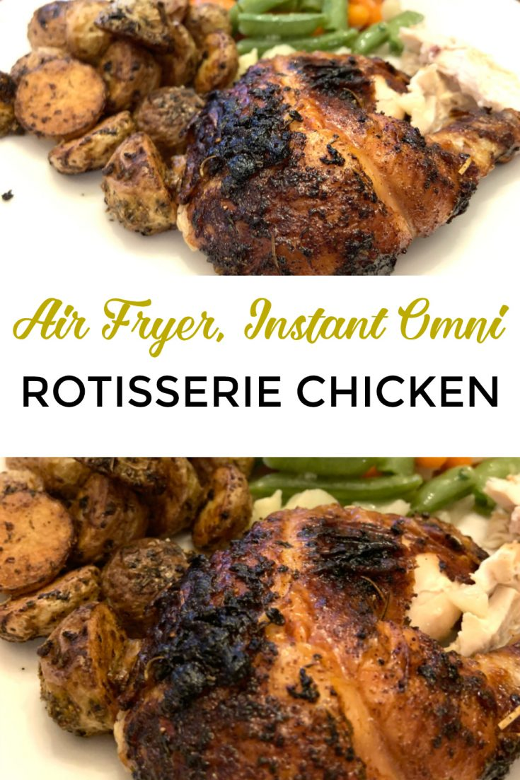 This Air Fryer Rotisserie Chicken recipe is formulated for the Instant Omni and can also be made in the Instant Pot Vortex or Power air fryer. You can also make it in a regular basket fryer or convection oven. The chicken is healthy, keto, and low carb.  Like most whole chicken recipes, it is easy to reheat.  #air fryer #chicken #instantomni #instantvortex