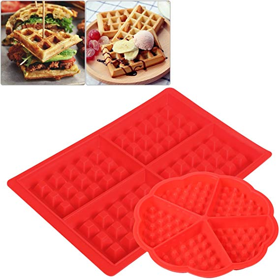 OUNONA 2Pcs Waffle Mold Silicone Waffle Mould Heart-shaped Waffle Maker Bakeware Accessories Chocolate Mold Square