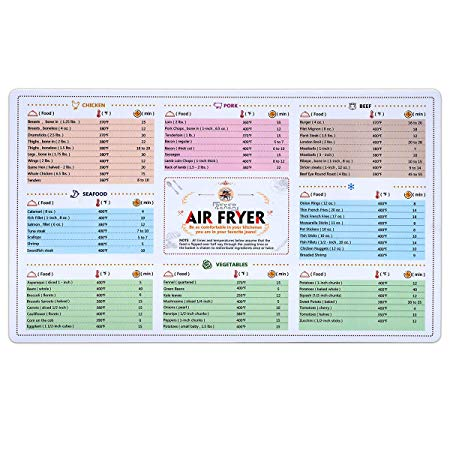 Air Fryer Magnetic Cheat Sheet Cookbook Cooker Accessories Magnet Cooking Times Chart Quick Reference Guide for 66 Common Prep Functions