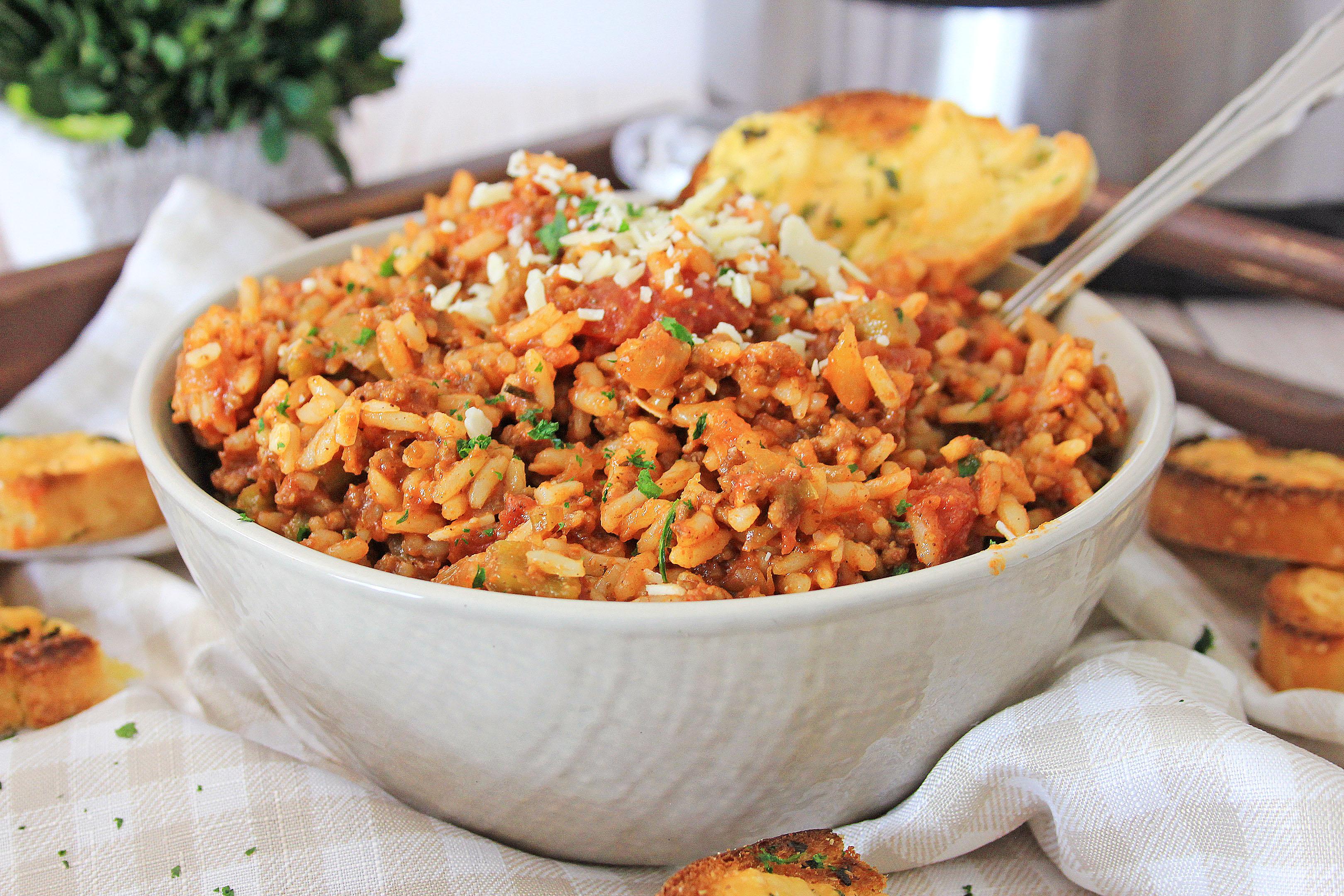 spanish rice in bowl