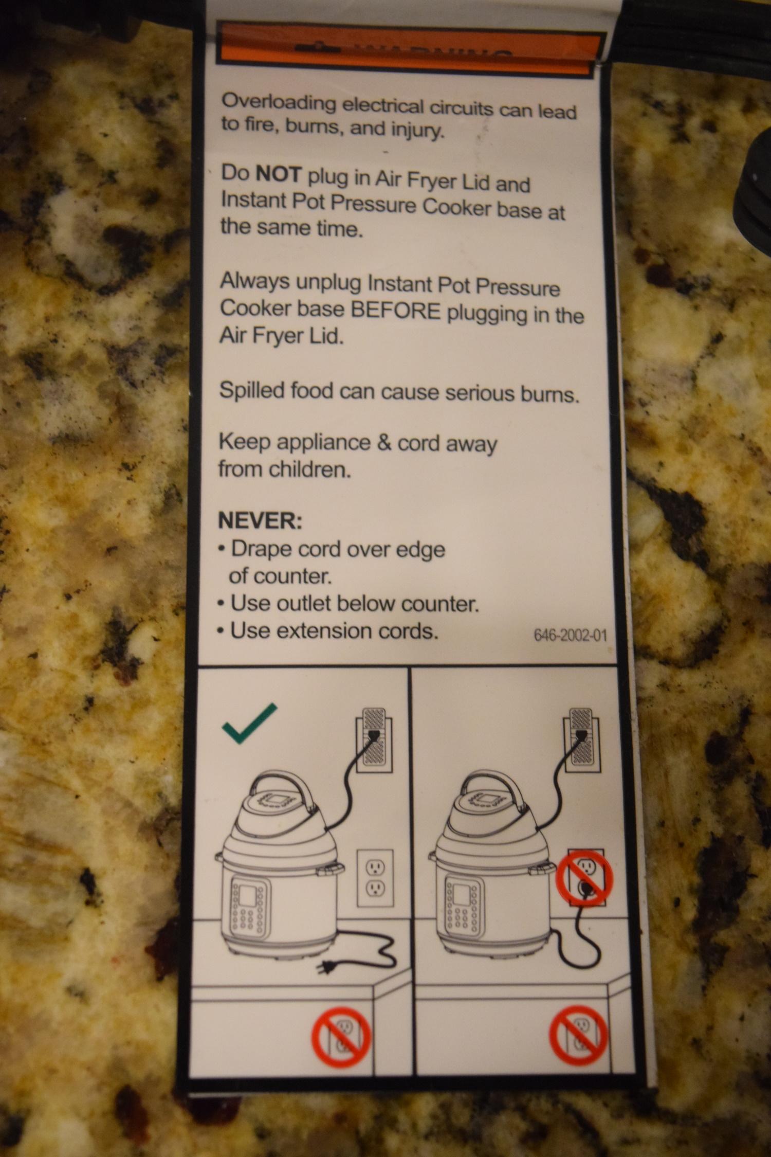 Air fryer crisp lid cautions